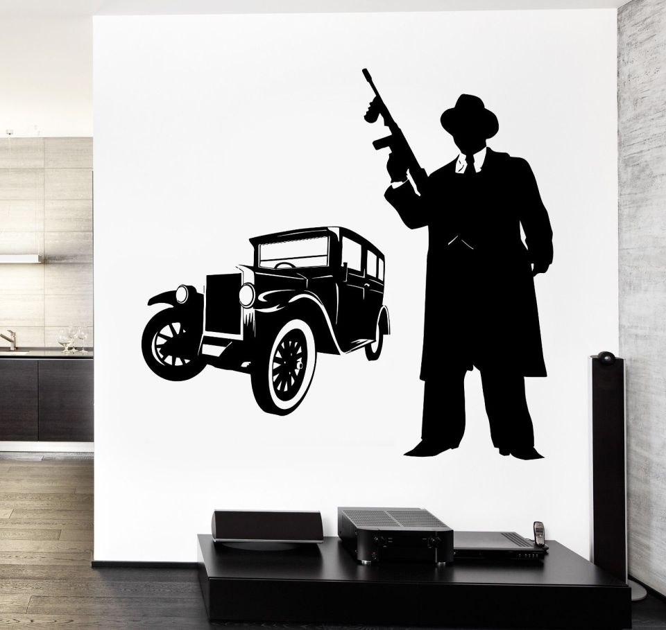 2017-new-kids-rooms-house-Wall-Vinyl-Decal-Gangster-Tommy-Gun-And-Retro-Car-Amazing-Decor