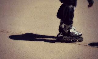 shadow of a rollerblader