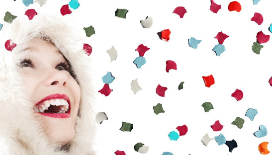 Face Cheerful Laugh Woman Joy Mood Confetti Fun
